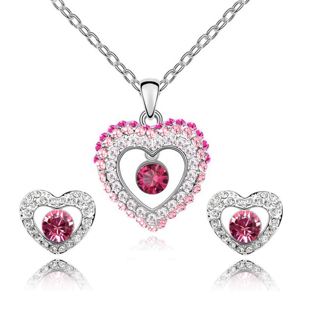 18K White-Gold Plated Princess Set - Romatco Jewelry