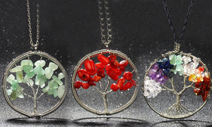 18K White-Gold Plated 7 Chakra Tree of Life Necklace-Romatco