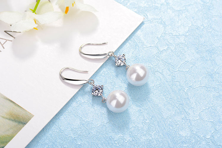 Imitation Pearl Drop Earrings-Romatco