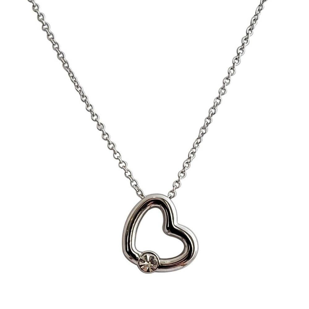 18K White-Gold Plated Alfie Heart Necklace - Romatco Jewelry
