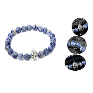 Antique Silver Spartan Warrior Bracelet-Blue-Romatco