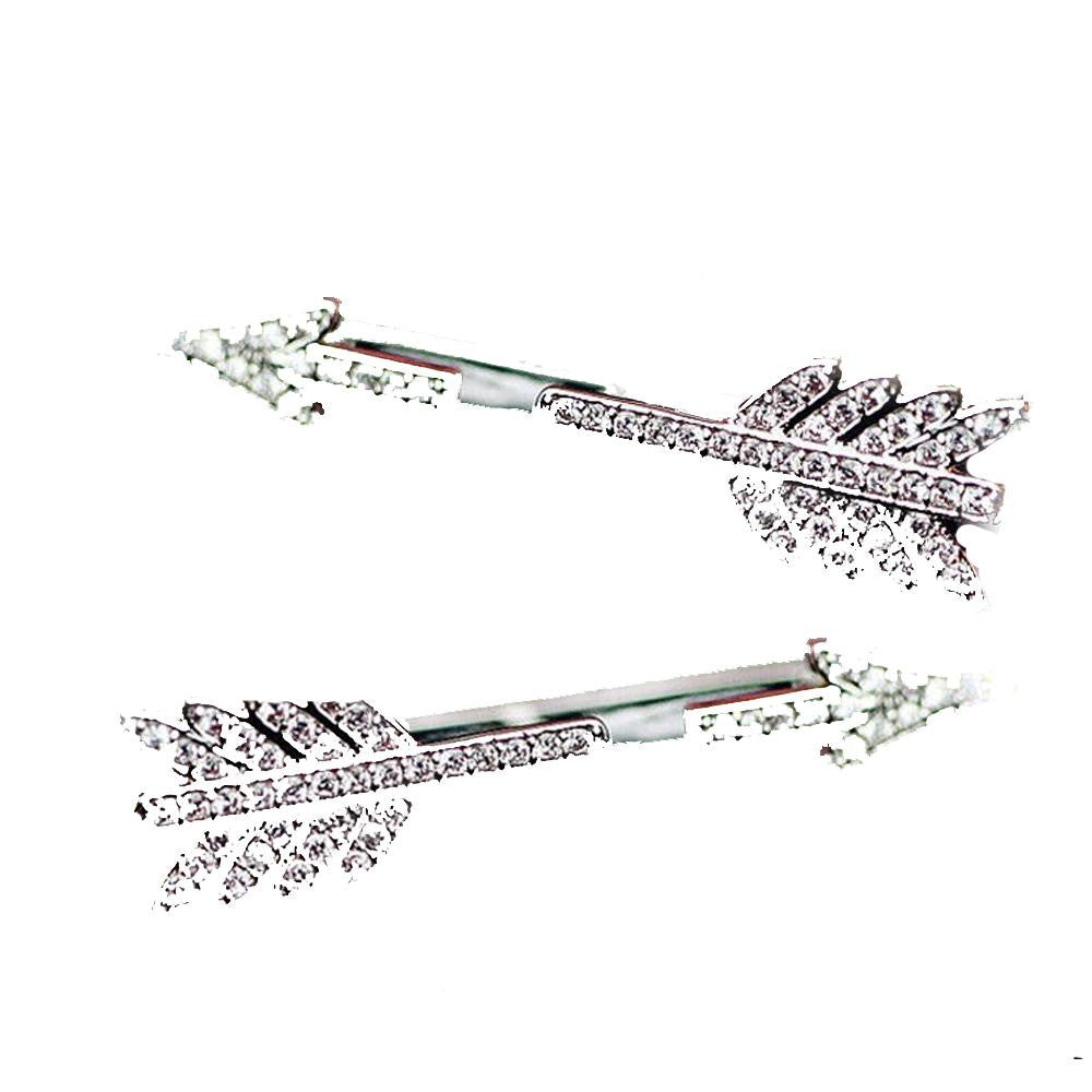 18K White-Gold Plated Arrow Earrings-Romatco