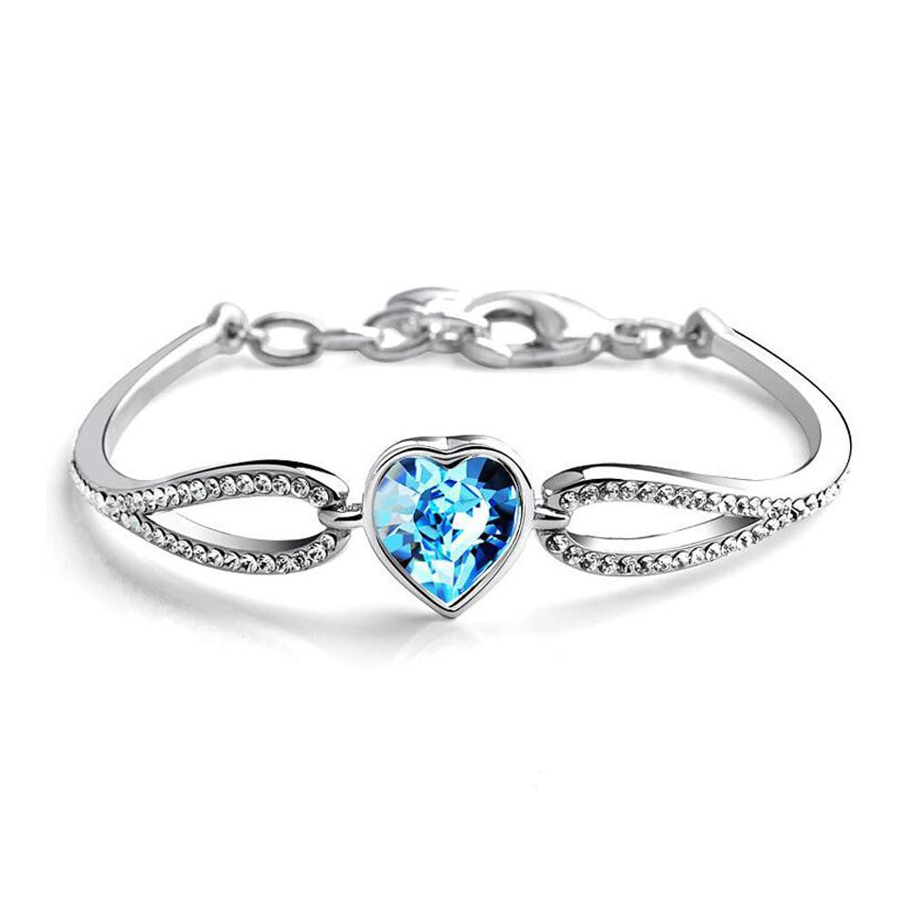 18K White-Gold plated Austrian Heart Bracelet - Romatco Jewelry