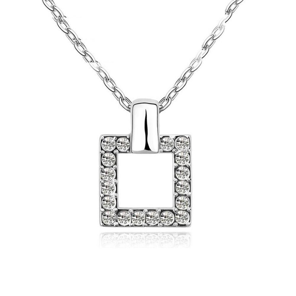 18K White-Gold plated Charming Square Necklace-Romatco
