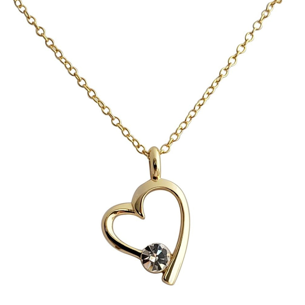 22K Gold Plated Elsie Heart Necklace - Romatco Jewelry