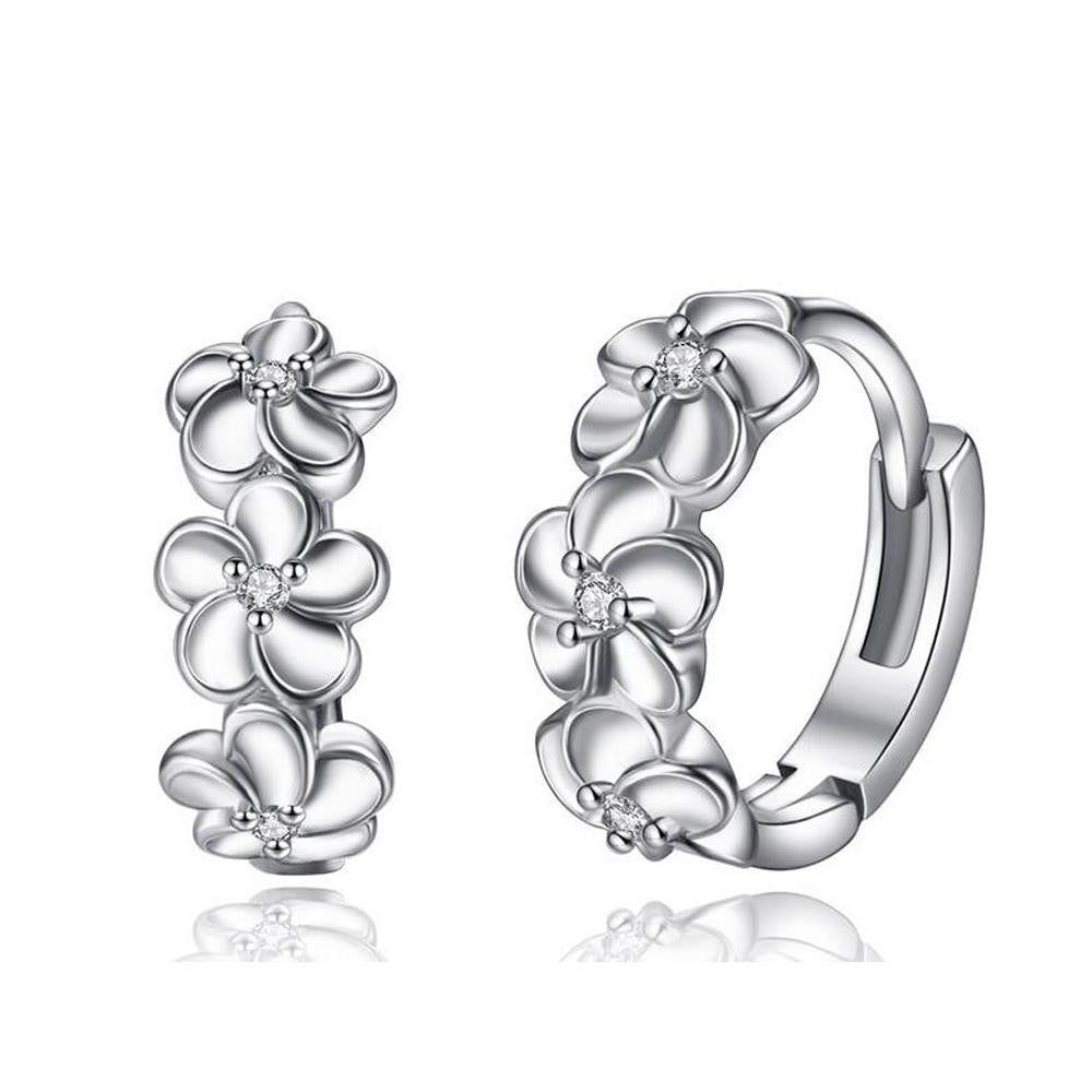 18K White-Gold Plated Flower Hoop Earrings-Romatco