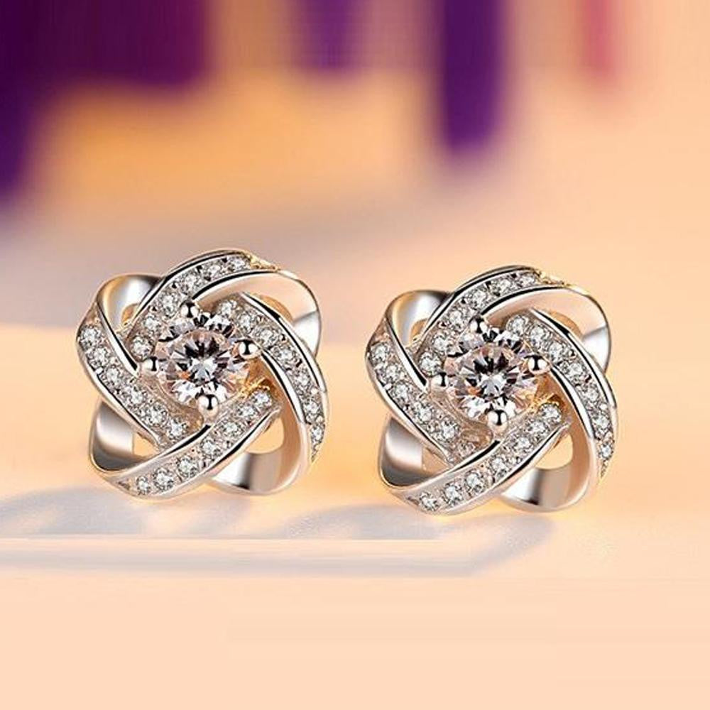 18K White-Gold plated Flower Earrings-Romatco