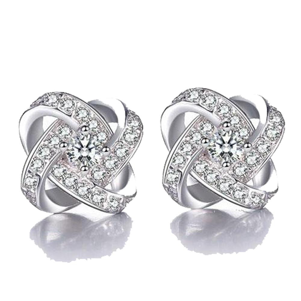 18K White-Gold plated  Flower Earrings - Romatco Jewelry