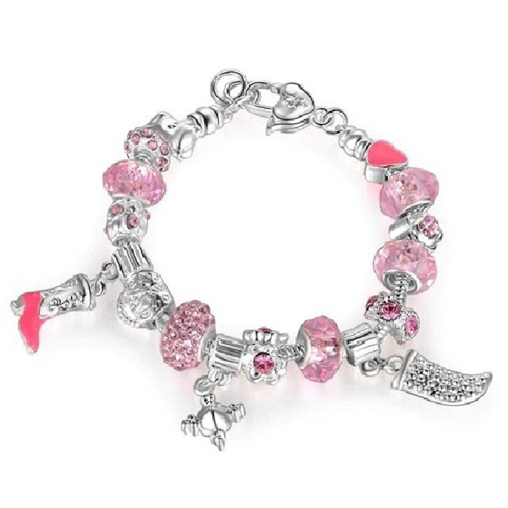 18K White-Gold plated Iconic bracelet-Pink & Silver - Romatco Jewelry