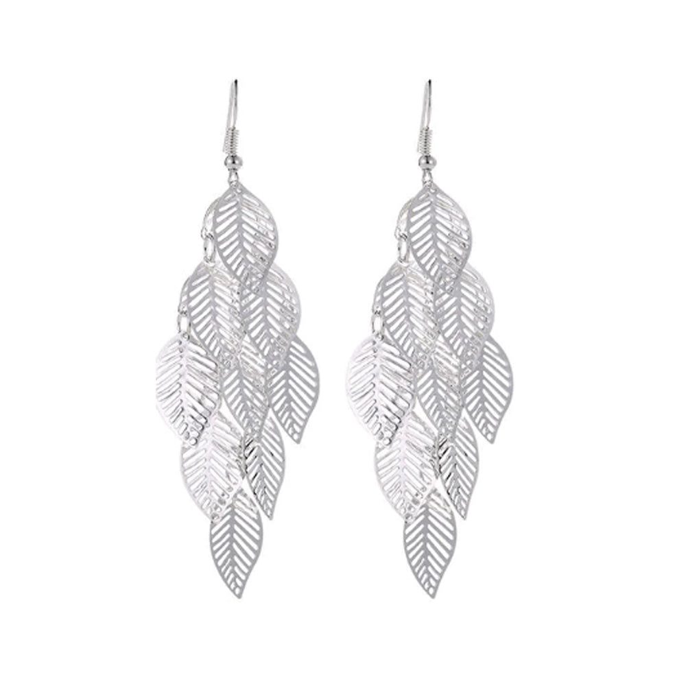 18K White-Gold plated Leaf Drop Dangling Earrings - Romatco Jewelry
