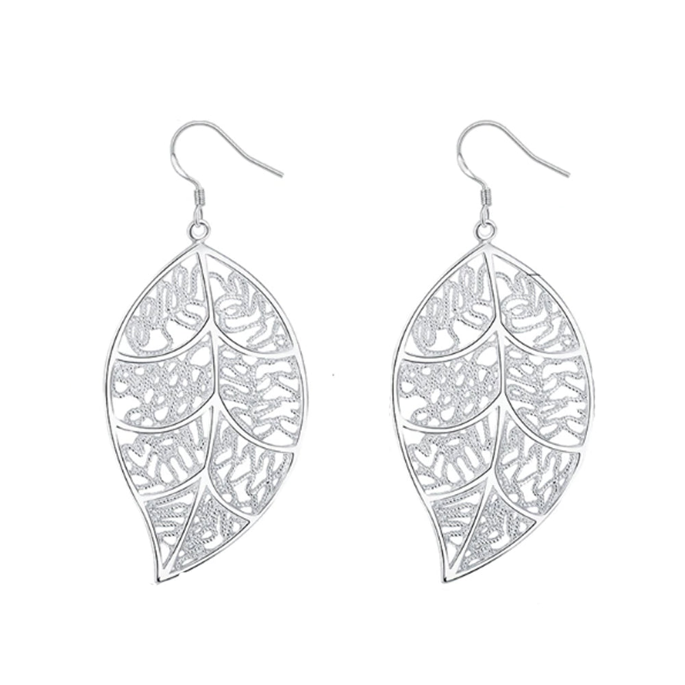 18K White-Gold plated Leaf Earrings - Romatco Jewelry