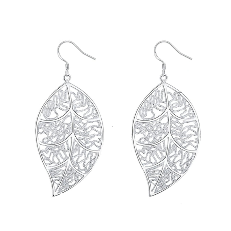 18K White-Gold plated Leaf Earrings-Romatco