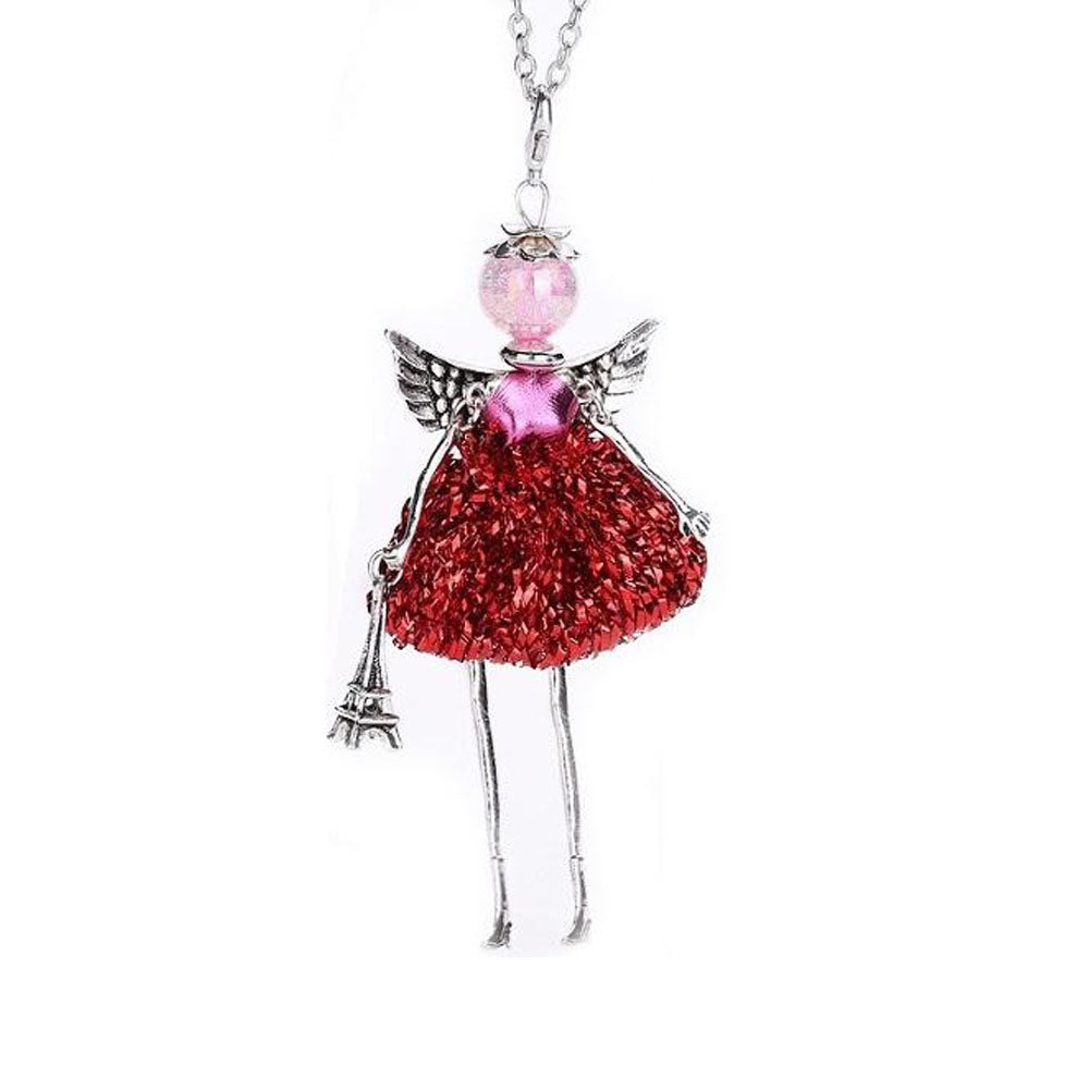 18K White-Gold plated Long Chain Doll Necklace