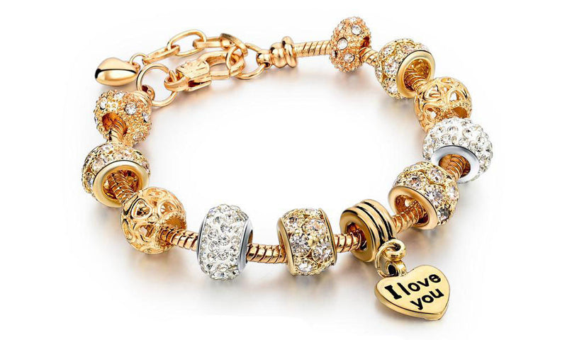 22K Gold plated Love Charm Bracelet