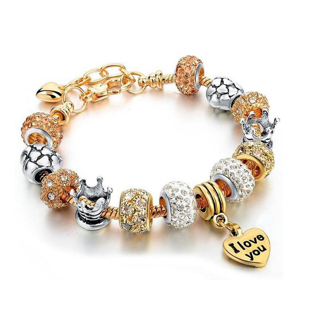 22K Gold plated Love Charm Bracelet - Romatco Jewelry