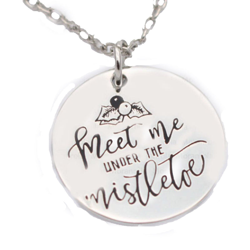 MEET ME UNDER THE MISTLETOE Hand Stamped Necklace-Romatco