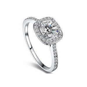 18K White-Gold Plated Micro-Insert Halo Ring-Romatco