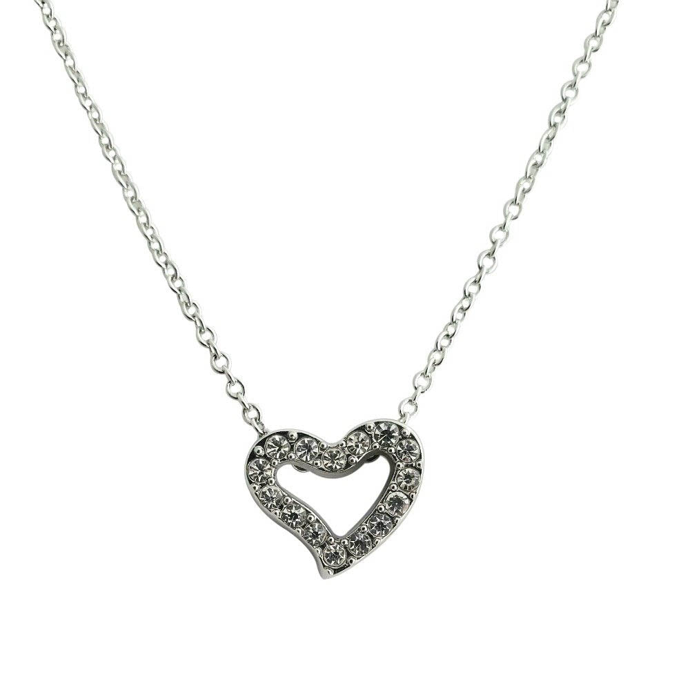 18K White-Gold Plated Love of Heart Necklace - Romatco Jewelry