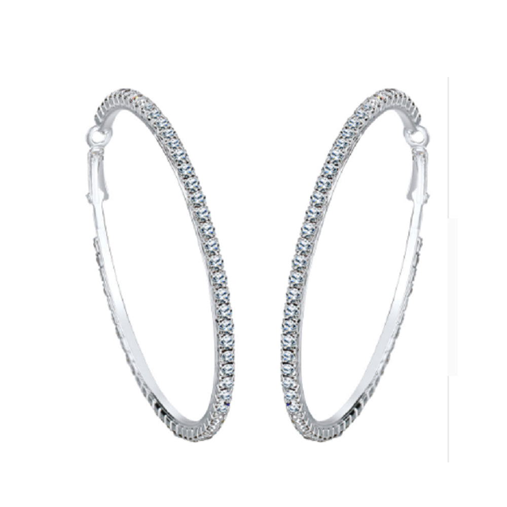 18K White-Gold plated Paloma Hoop Earrings - Romatco Jewelry