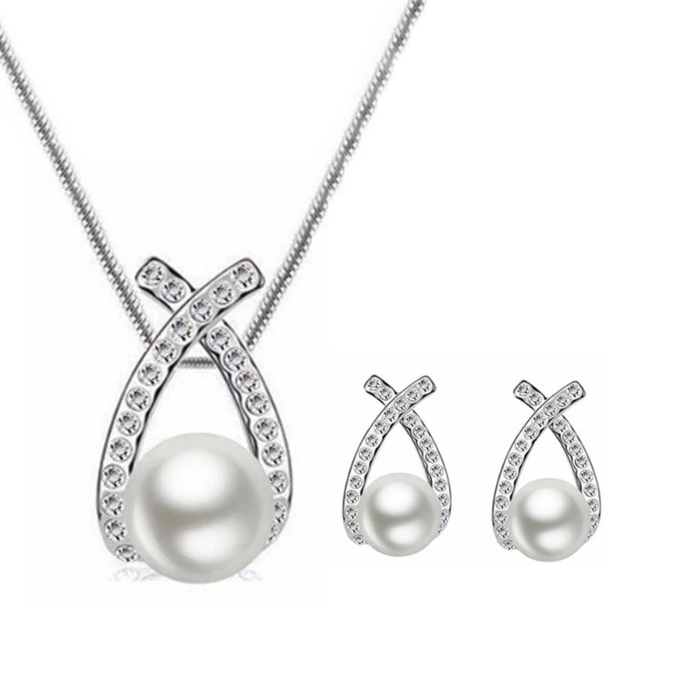 18K White-Gold Plated Cross Pearl Set
