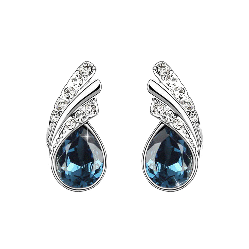 18K White-Gold plated Princess Dream Stud Earrings-Dark Blue - Romatco Jewelry