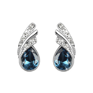 18K White-Gold plated Princess Dream Stud Earrings-Dark Blue-Romatco