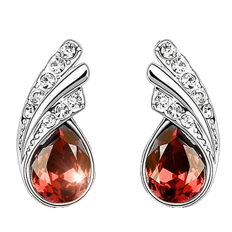 18K White-Gold plated Princess Dream Stud Earrings-Orange-Romatco