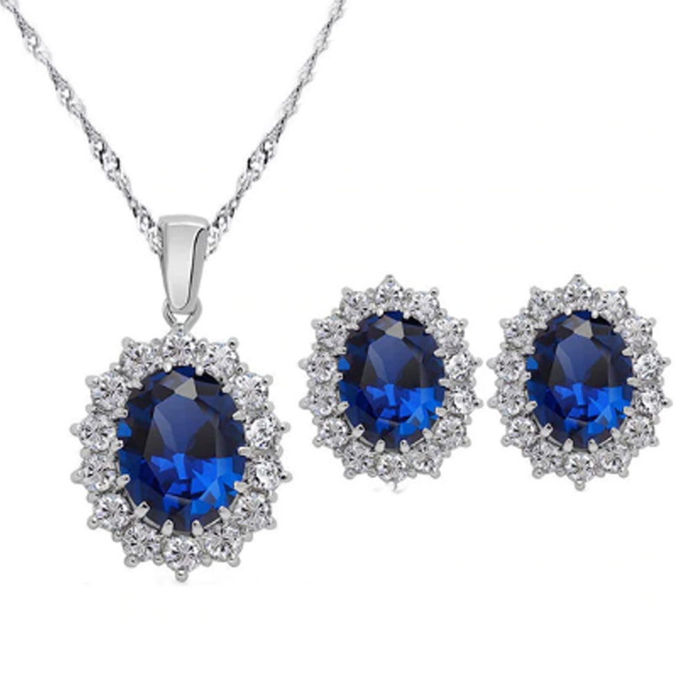 18K White-Gold Plated Imitation Sapphire Set - Romatco Jewelry