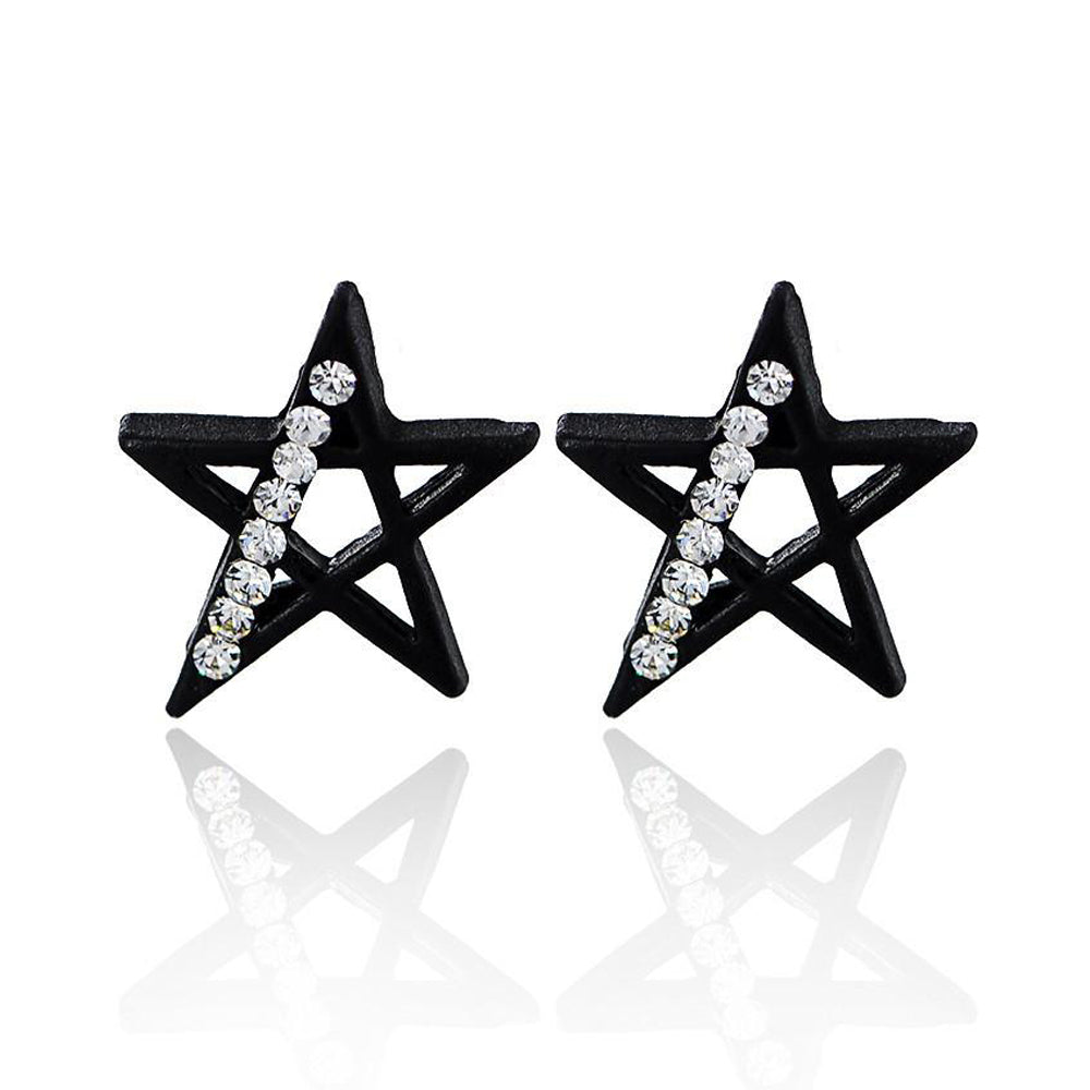 Black Stud Earrings-Romatco