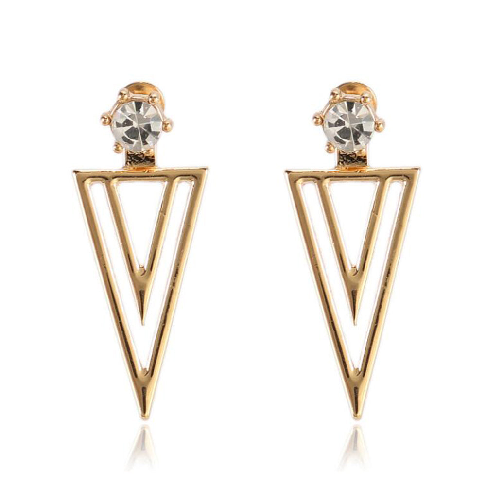 Twice Triangle Jacket Earrings-Romatco