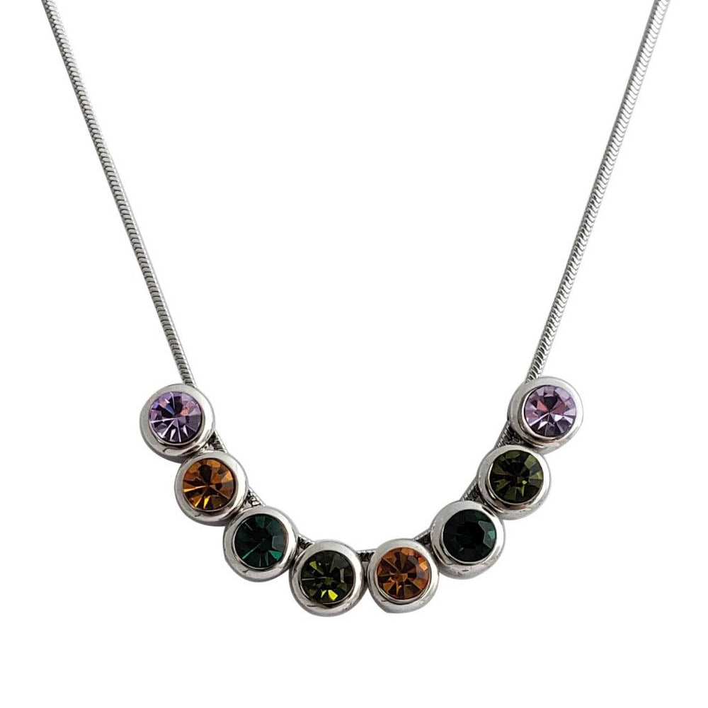 18K White Gold Plated Vintage Colorful Statement Necklace