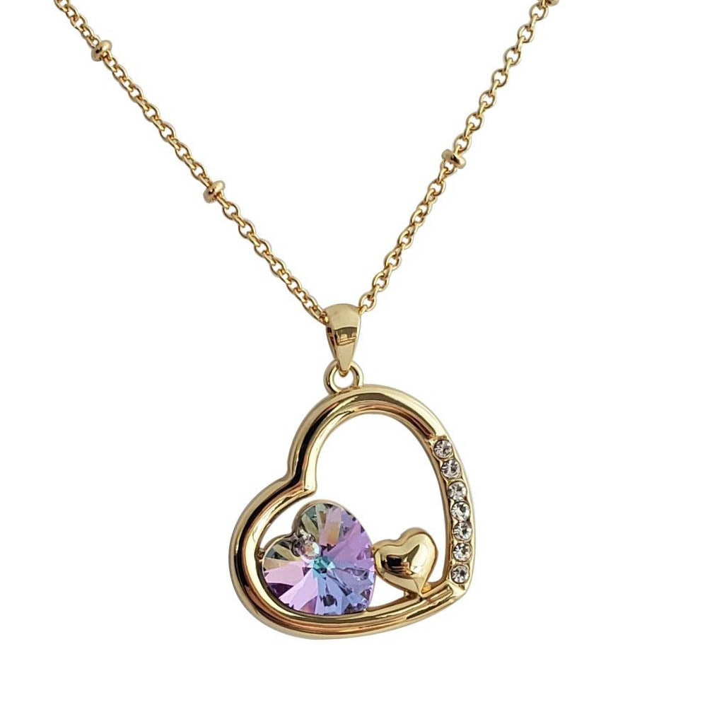 22K Gold Plated Crystal Heart Necklace - Romatco Jewelry