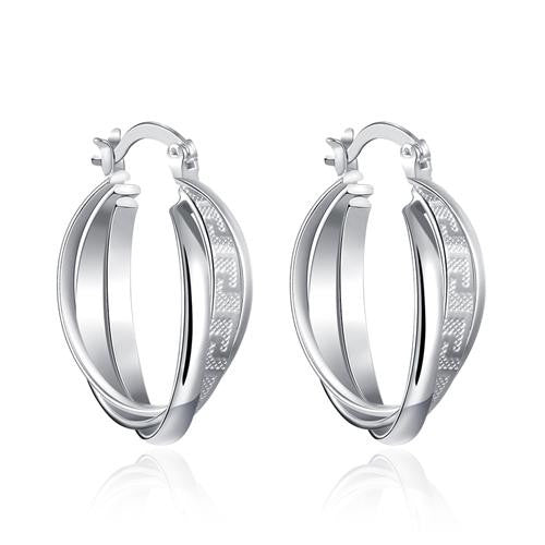18K White-Gold Plated Eleanor Hoop Earrings - Romatco Jewelry