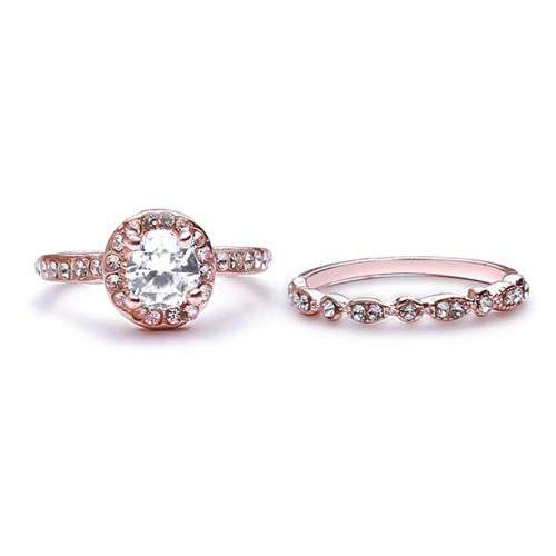 14K Rose-Gold Plated Molly Engagement Rings-Romatco