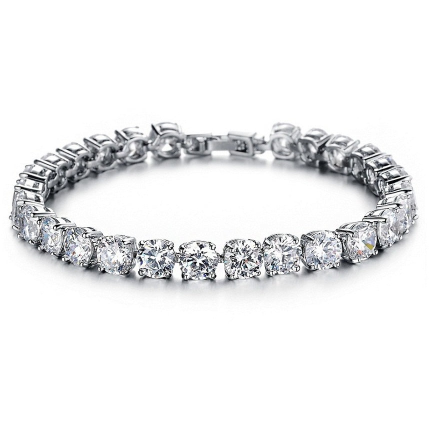18K White-Gold Plated Tennis Crystal Bracelet-Romatco