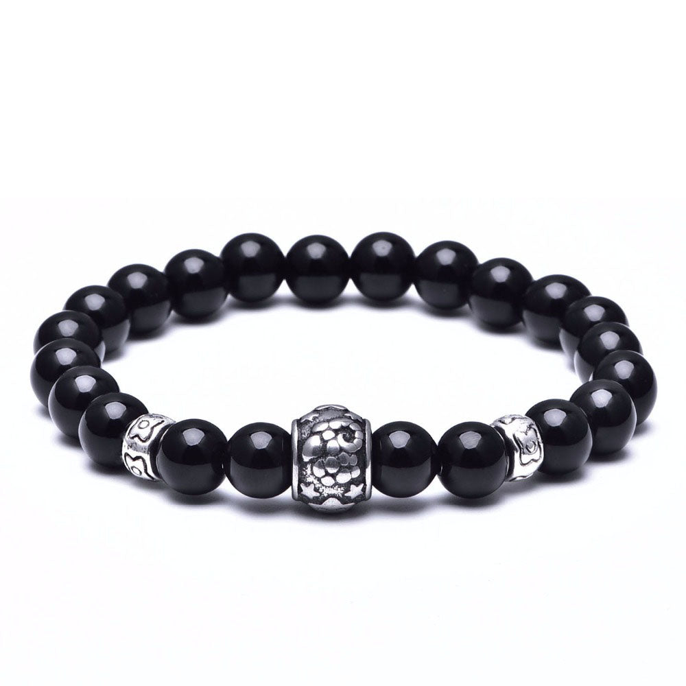 Black Beaded Zodiac Bracelet-Romatco