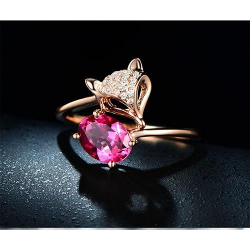 14K Rose-Gold Plated Fox Ring-Romatco