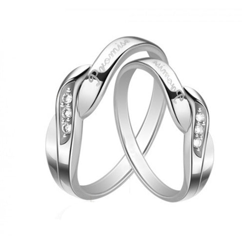 18K White-Gold Plated Promise Rings-Romatco