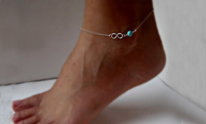 18K White-Gold plated Turquoise Beaded Anklet-Romatco