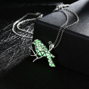 18K White-Gold Plated Bird Glow in the Dark Necklace-Romatco