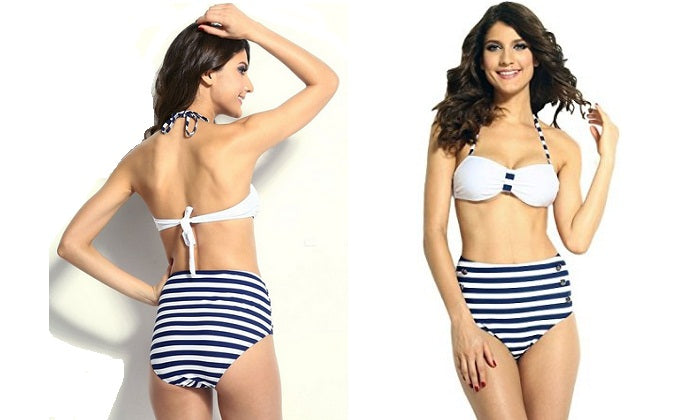 Blue & White Strip Swimsuit-Romatco