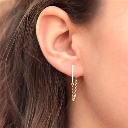 Staple Bar Chain Earrings-Romatco