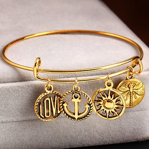 22K Gold plated Life Charm Bangles-Romatco