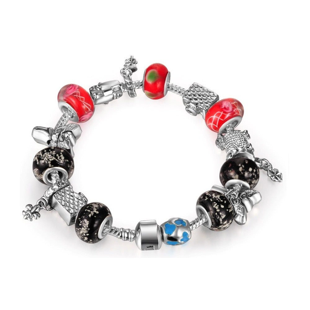 18K White-Gold plated Iconic Bracelet-Red & Black - Romatco Jewelry