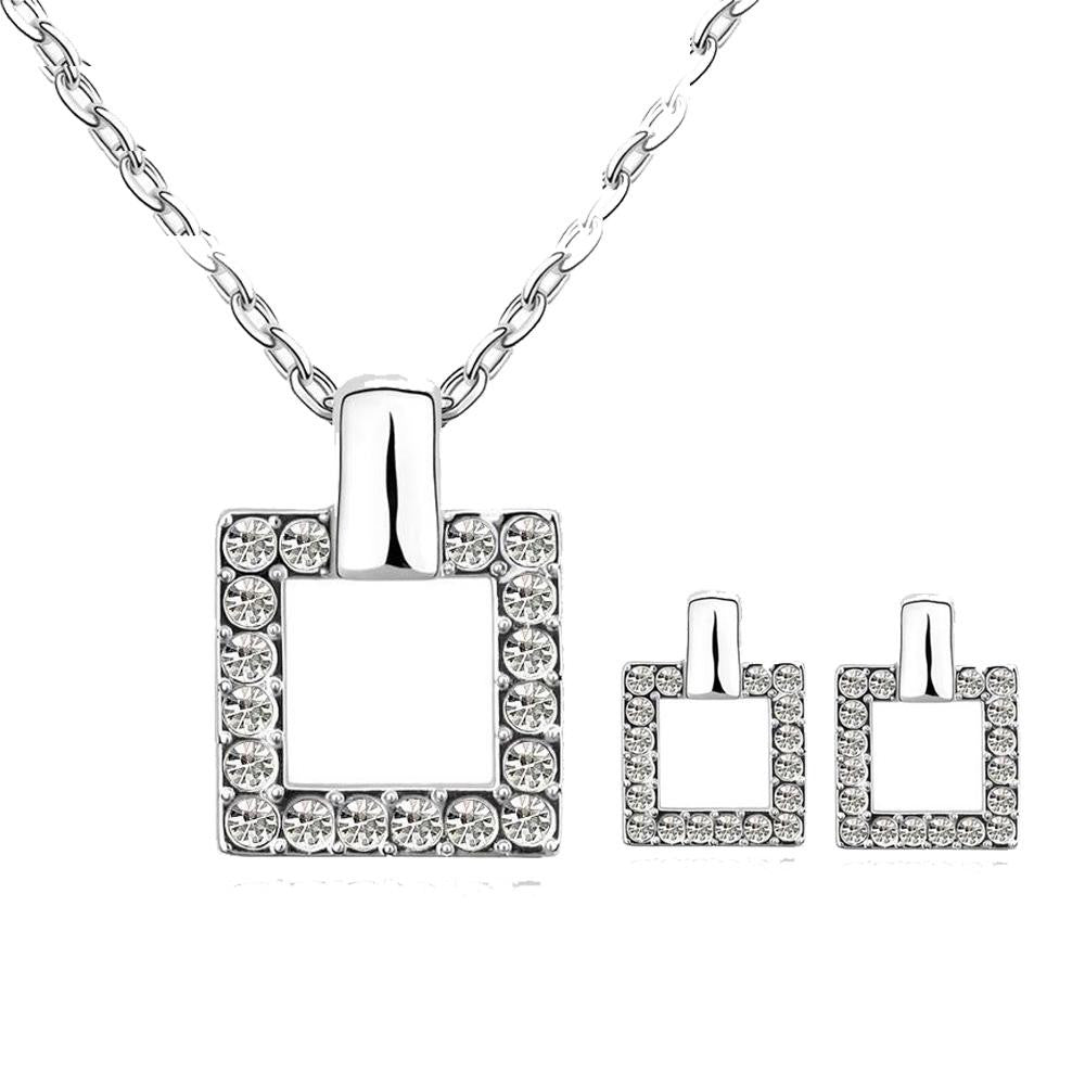 18K White-Gold Plated Charming Square Set - Romatco Jewelry