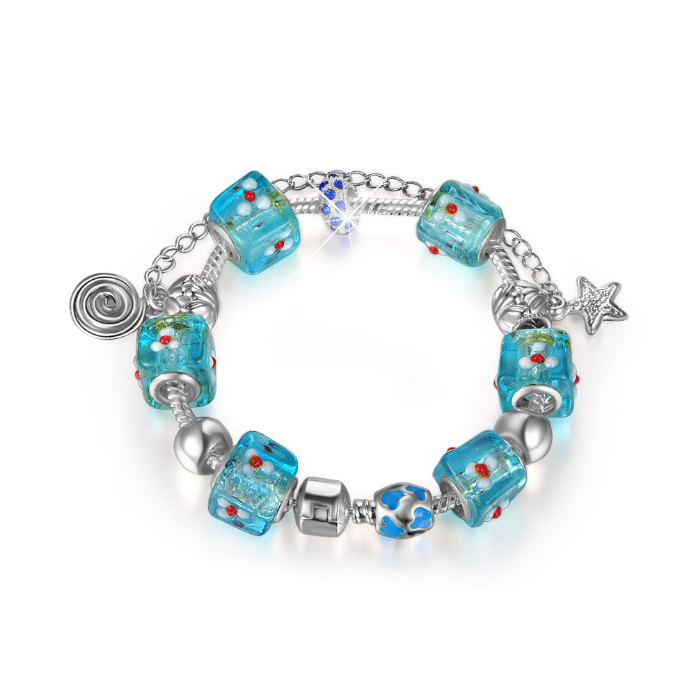 18K White-Gold plated Iconic Bracelet-Light Blue - Romatco Jewelry