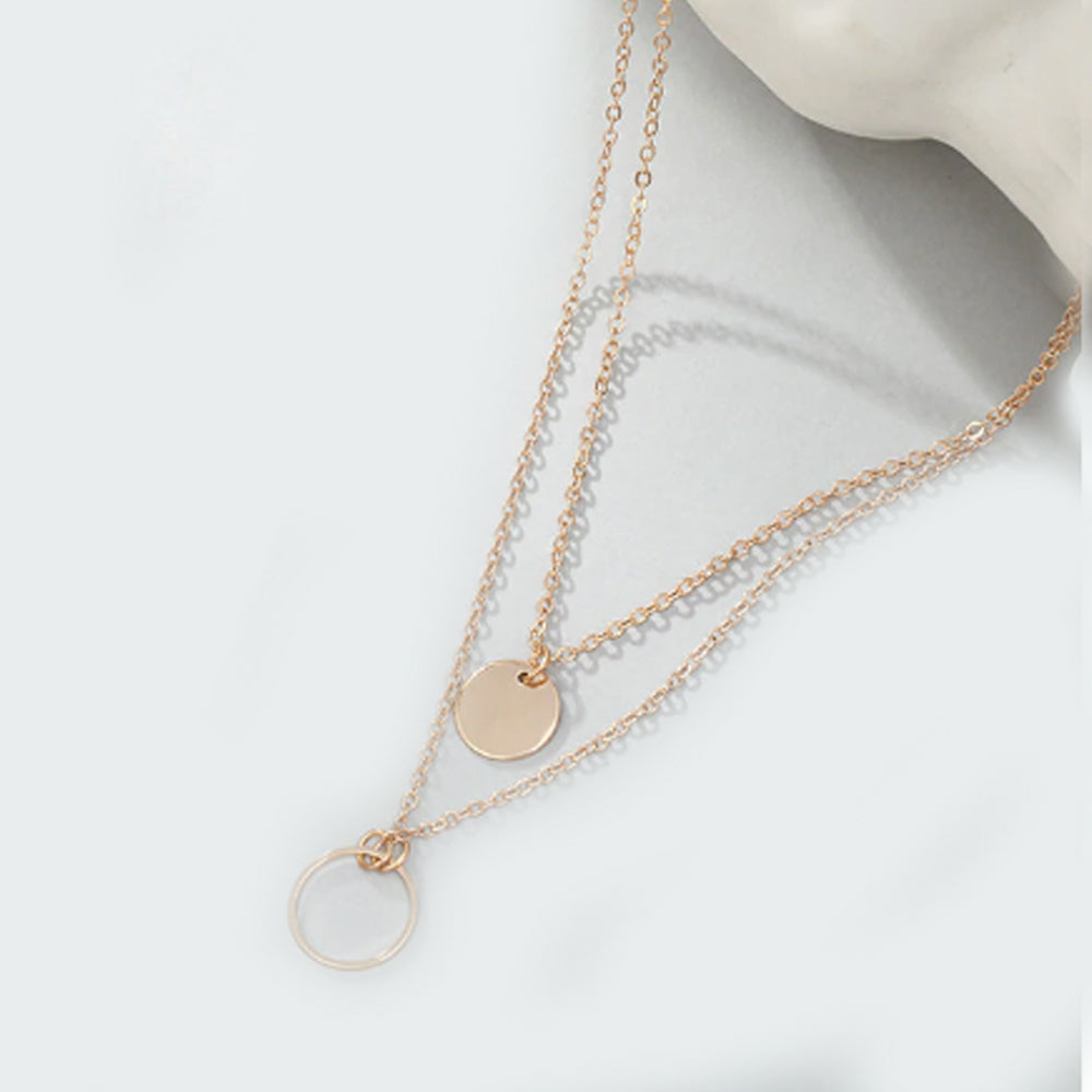 Multi-layer Coin Charm Necklace