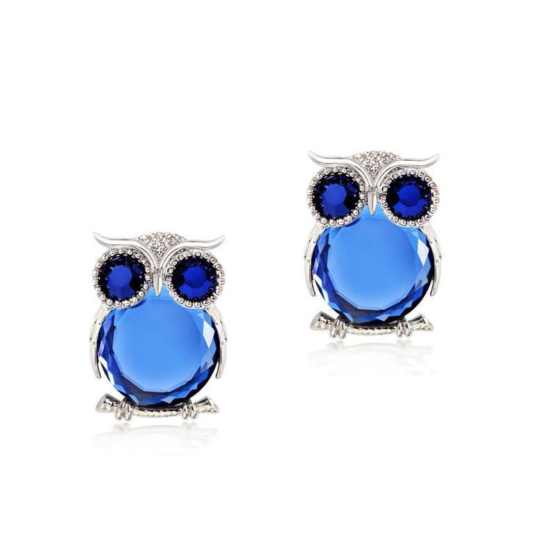18K White-Gold Plated Atari Blue Owl Earrings - Romatco Jewelry