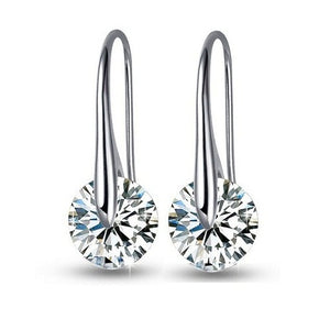 18K White-Gold plated Moon Drop Earrings Earrings romatco.myshopify.com