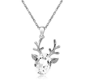 18K White-Gold Plated Reindeer Necklace-Romatco